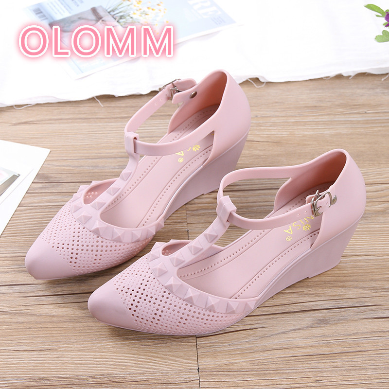 Sandals Jelly-Shoes Buckled-Heels High-Heeled Ladies't-Shaped Breathable Hollow Summer