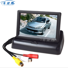 4,3 дюймов TFT ЖК-дисплей монитора автомобиля Складная монитор Дисплей обратный Камера парковка Системы для заднего вида автомобиля мониторы NTSC PAL