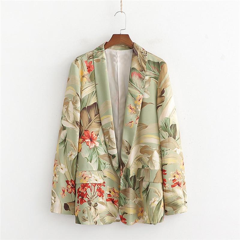 Fashion Print Casual Blazer Women Spring No Buckle Satin Fabric Suit Tops Female Plus Size Long Sleeve Short Jacket Blazers 2728