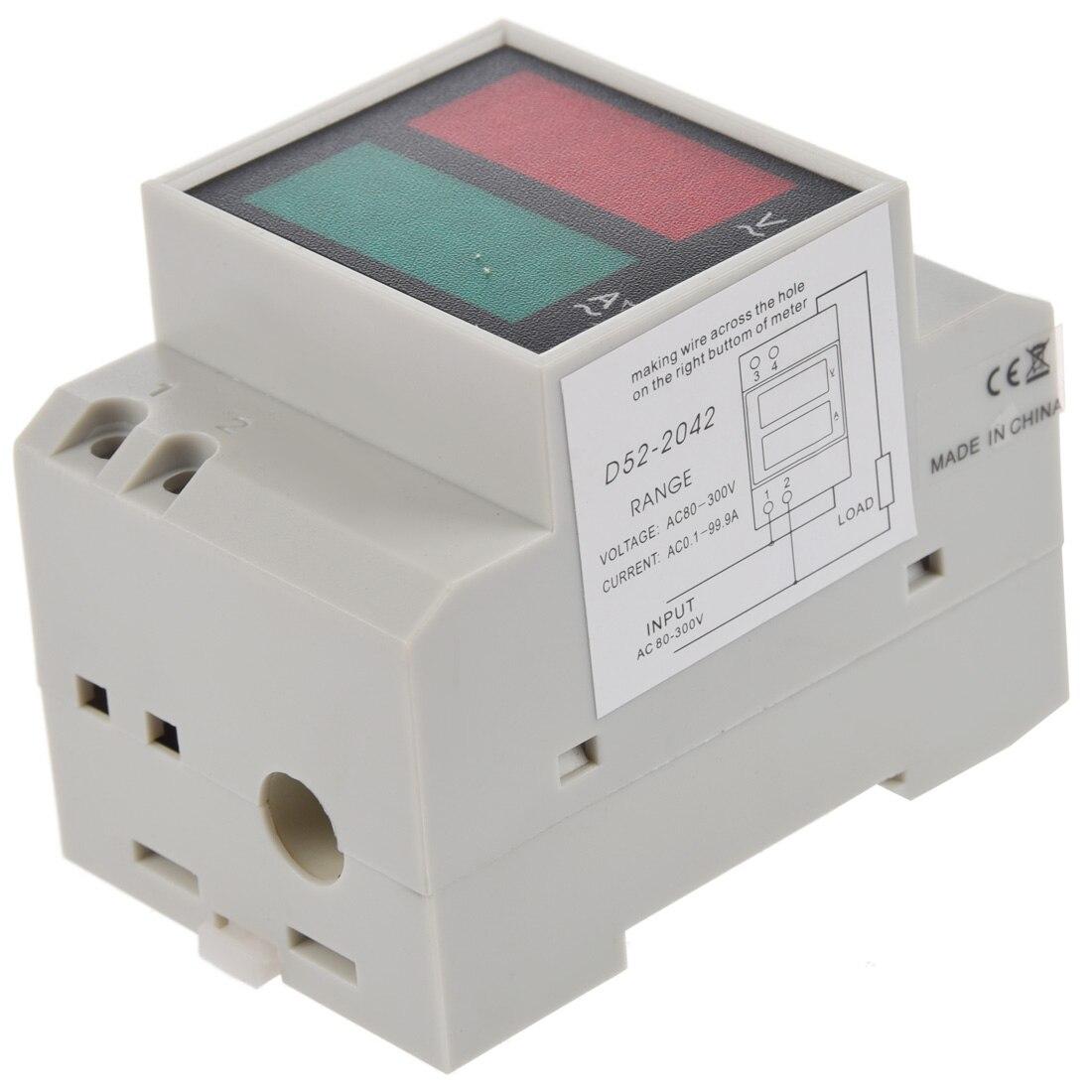 Din-Rail AC 110V/220V Digital Voltmeter Ammeter Red Volt Green Amp Meter LED Display