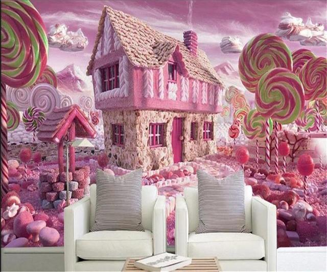 3d wallpaper custom photo wallpaper kids mural glass candy house TV ...