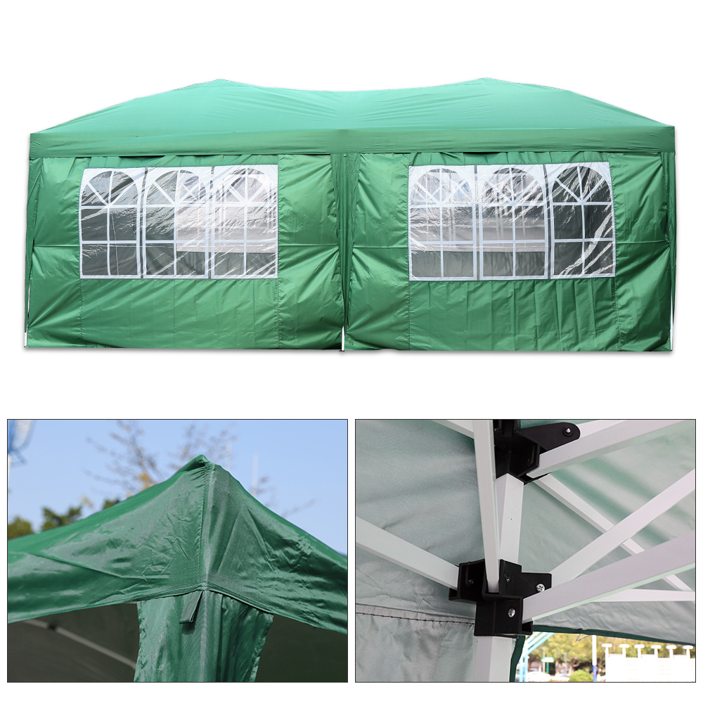 3Mx6M Folding Waterproof Gazebo Marquee Awning Garden Tent Color Green Wedding Birthday Party Beach Camping