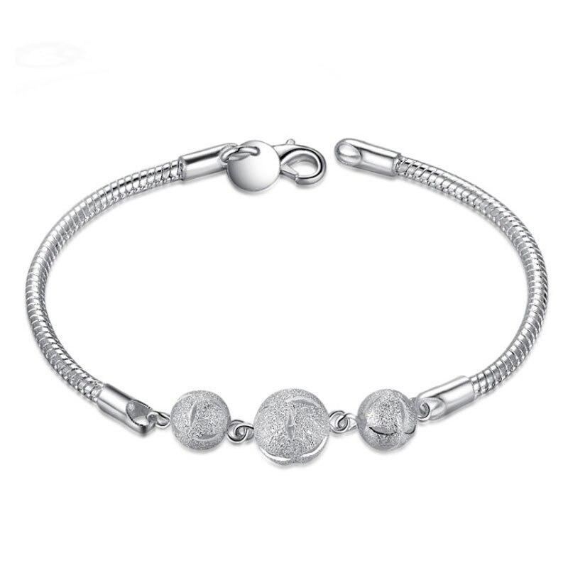 ae5f6571338b ONEVAN de moda de Plata de Ley 925 pulsera de cadena de serpiente de plata  de cuentas de pulsera y brazaletes para las mujeres joyería de mano al por  mayor