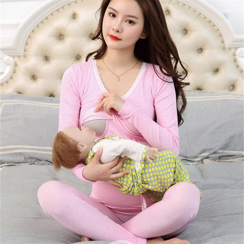 Maternity Nursing long sleeve 2pcs/set Pregnant Womens Sleepwear Breastfeeding pajamas set for Pregnant Women Maternity Clothes