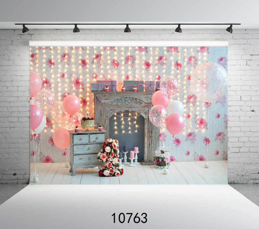 Photography Background Photo Vintage Fireplace Pink 1st Birthday Party Customize vinyl Printing Cloth Backdrops for Photo studio