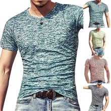 2018 Brand Autumn V neck T Shirt Men Casual Fitness Tops&Tees Vintage Blue Long Sleeve Pullover Homme Plus Size Slim Fit tshirt
