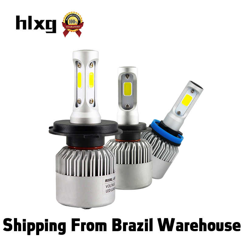 Hlxg 1 unit S2 H4 High Low Beam H7 LED Headlight Kit 72W 8000LM/Set H1 9005 HB3 9006 HB4  6000K 8000K Car Bulbs Accessories