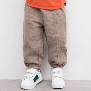 Kids Trousers Long-Pants Linen Pleated Baby-Boys-Girls Cotton Children Casual Straight