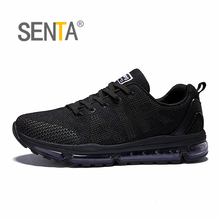 SENTA 2018 Air cushion Running Shoes for Men Reflective light breathable mesh vamp Women sports sneakers anti-skid walking shoes