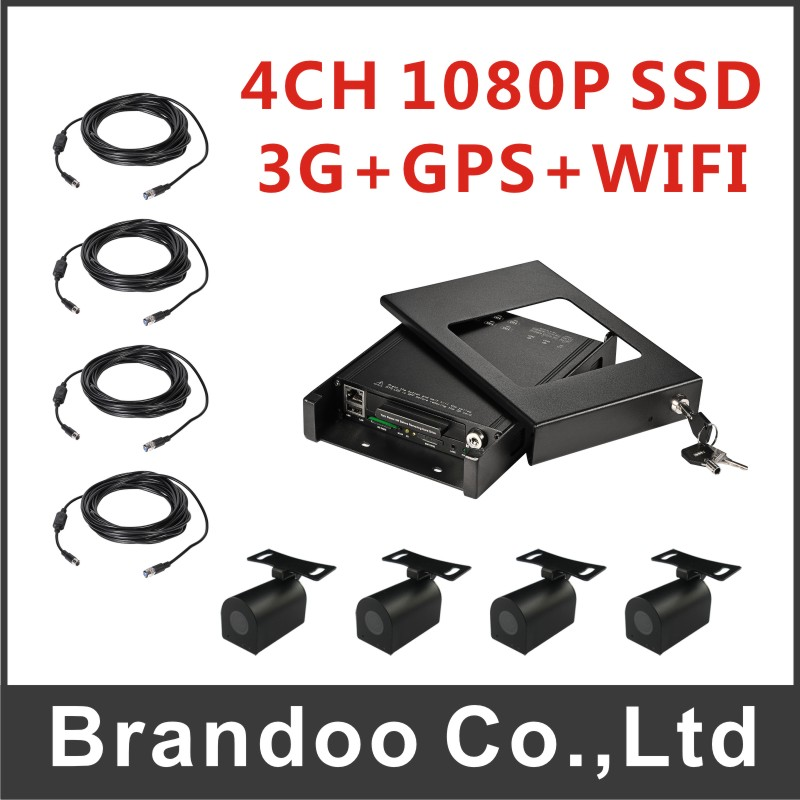 SSD VERSION, 4CH 1080P 3G CAR DVR kit, 4pcs mini HD car camera and 4pcs 5m video cable. for bus,taxi, train used цена 2017