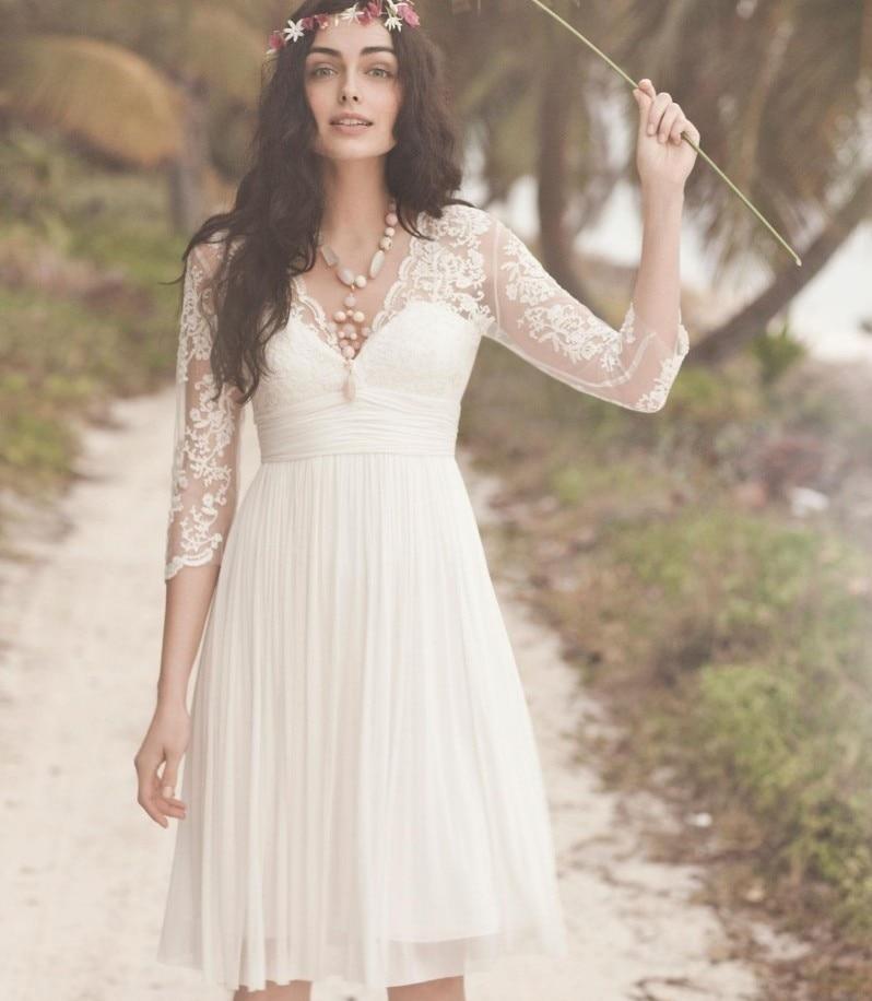Short Beach Wedding Dresses Lace 3/4 Sleeves Illusion Bridal Gowns Backless Vestidos De Novia V-neck Custom Made 2019