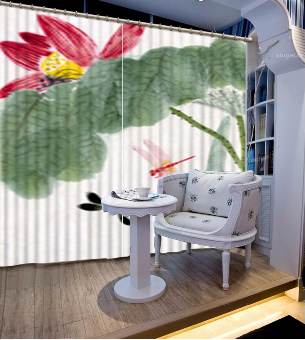 3D Curtain Fashion Customized Classic Home Decor 3D Curtain Lotus Painting Blackout Shade Window Curtains For Bedroom