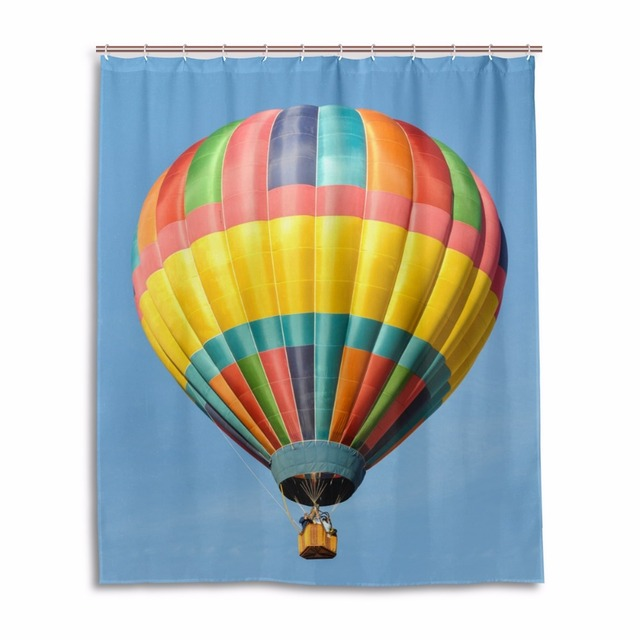 Bathroom Colorful Hot Air Balloon Shower Curtain For Polyester Mildew Anti Home Decor Blue Sky