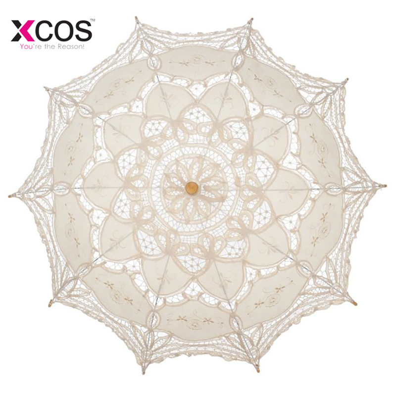 Summer Lace Manual Opening Wedding Umbrella Bride Parasol Umbrella Accessories For Wedding Bridal Bridesmaids Shower Umbrella
