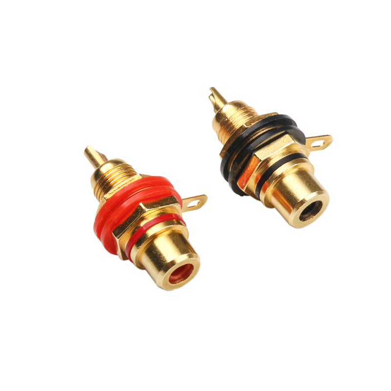 2PCS RCA Female Socket Connector Chassis Panel Mount Adapter Audio Plug