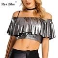 RealShe S-XXL T Shirt Women 2017 Autumn Womens Tops Sexy Slash Neck Ruffles Short T-shirt Tee Shirts Plus Size