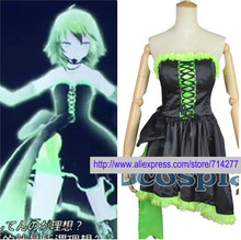 Free shipping Custom Cheap black dress Gumi cosplay costume from vocaloid