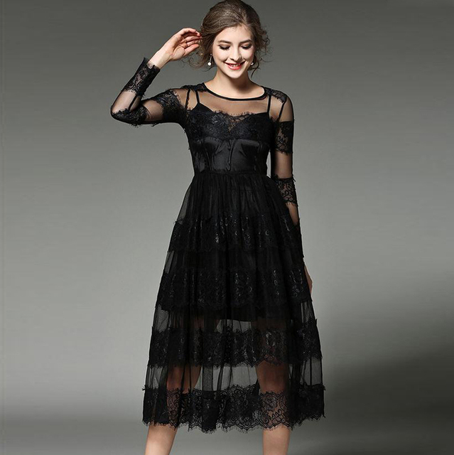 Women Lace Patchwork Netting Designer Tulle Dress S Evening Party Elegant Plus Size Winter Y