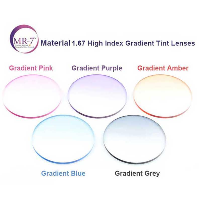 1 67 Super Thin MR 7 Super Tough Gradient Tint HMC EMI Asphere Anti UV Myopia