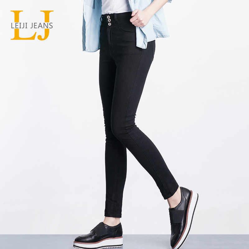 4845d727699 2019 LEIJIJEANS Высокая талия джинсы Кнопка fly полная длина плюс размер  черные джинсы для женщин стрейч