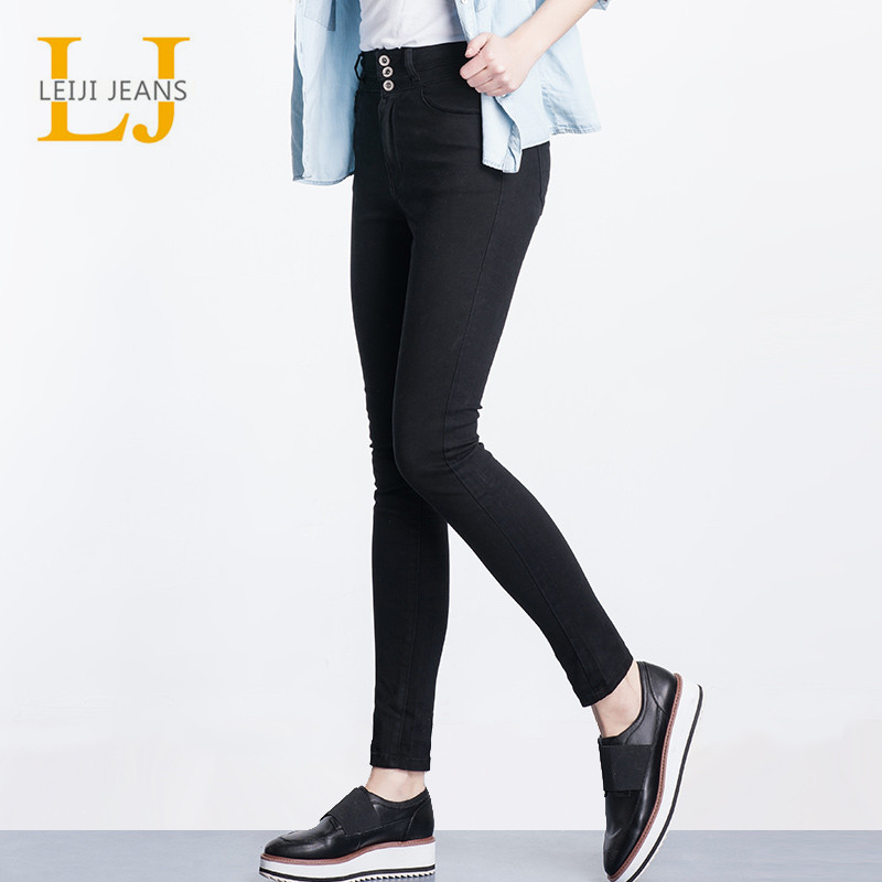 2019 LEIJIJEANS High Waist   Jeans   button fly Full Length Plus Size black   Jeans   for Women Stretch   Jeans   Skinny Pencil women   jeans