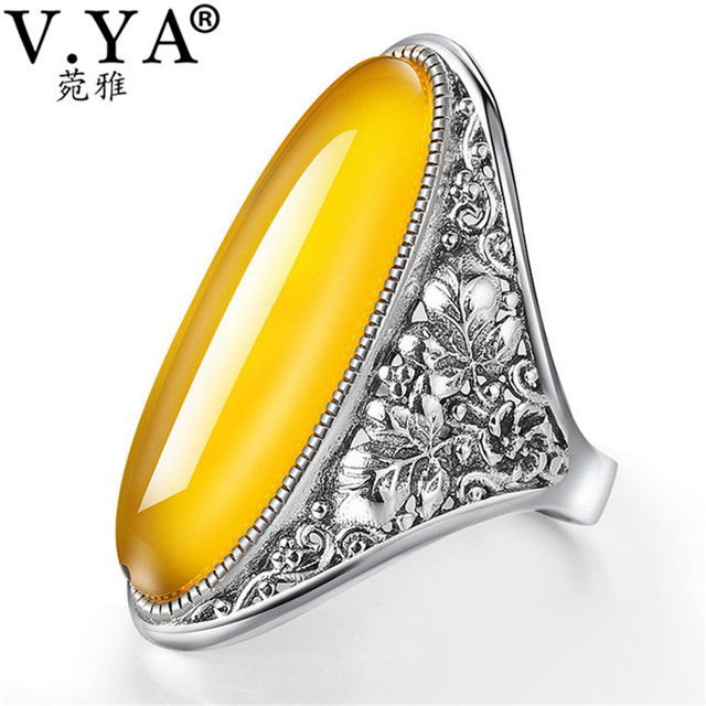 d58e0d342adfa1 V.YA Luxury Flower Shape Garnet Stone Ring 925 Sterling Silver Big Thumb  Rings For Women Fine Jewelry