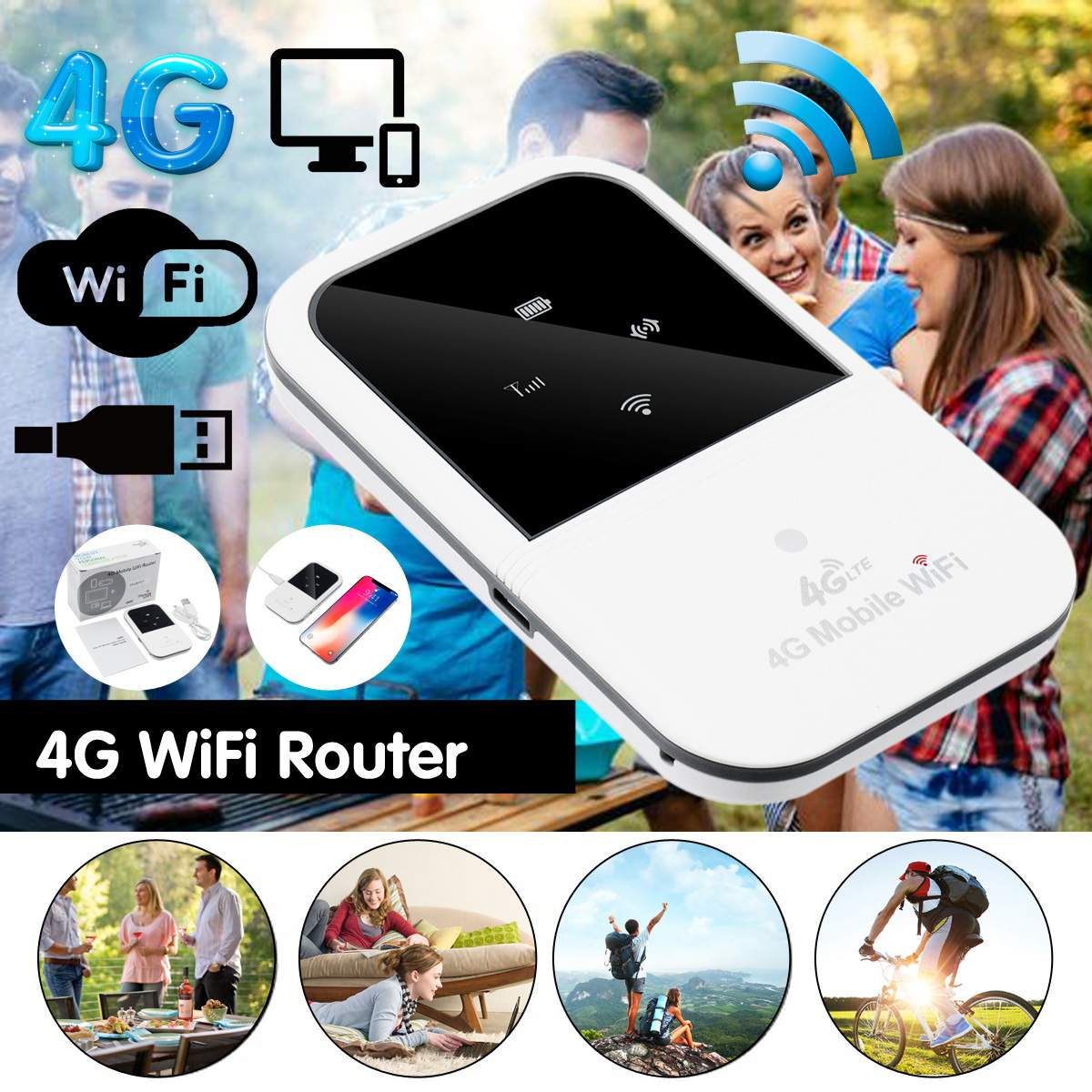 A800 4G Wireless Router Portable WiFi 802.11 B/g/n 4G 150Mbps Portable Router 4G Hotspot With SIM Slot Wireless Routers Repeater