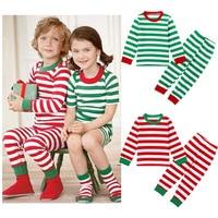 Christmas Halloween Children S Clothing Boys Girls Sleepwear Suit Stripes Pajamas Suit Round Neck Pyjama Cotton