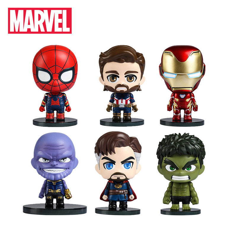 2019 6pcs Marvel Toys 6CM Avengers Infinity War Ironspider Ironman Hulk PVC Action Figures Spiderman Thanos Spider-Man Figurine(China)