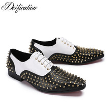 Deification Rivert Studded Formal Mens Shoes Pointed Toe Patchwork Designer Lace Up Party Wedding Plus Size 47