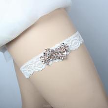 9c4805105 Lowosaiwor Factory Rose Golden Crystal Applique Lace Wedding Garter Bridal