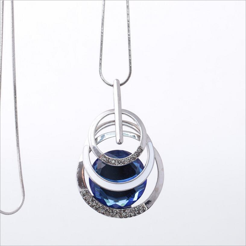 Kuziduocai 2017 New Fashion Fine Jewelry Matte Multilayer Geometr Glass Crystal Sweater Long Necklaces & Pendant For Women N-547