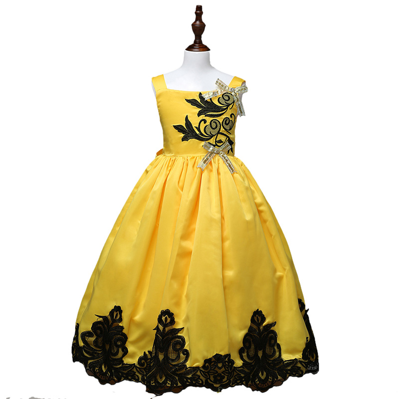 Fashion baby girls formal dress summer sleeveless floral dress kids princess clothes girls ball gown dress for party 2-16 ys new arrival fashion summer girls kids sleeveless flower dress elegant sweet children girls knee length ball gown dress