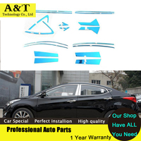 Car Styling Full Window Trim Decoration Strips For Hyundai Elantra 2012 2015 High Quality Stainless Steel