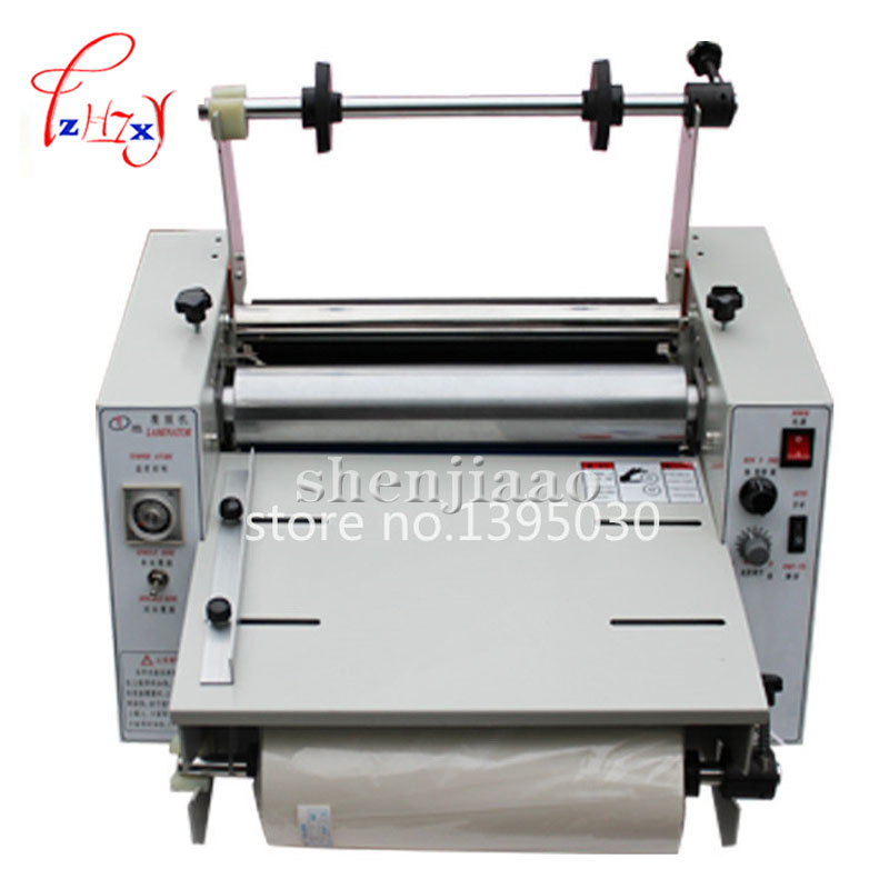 hot laminating machine DC-380 hot laminator roll laminating machine cold roll laminator  220V 500W  with English instruction 1PC 1pc 12th 8460t a2 multi function laminator hot roll laminating machine high end speed regulation laminating machine
