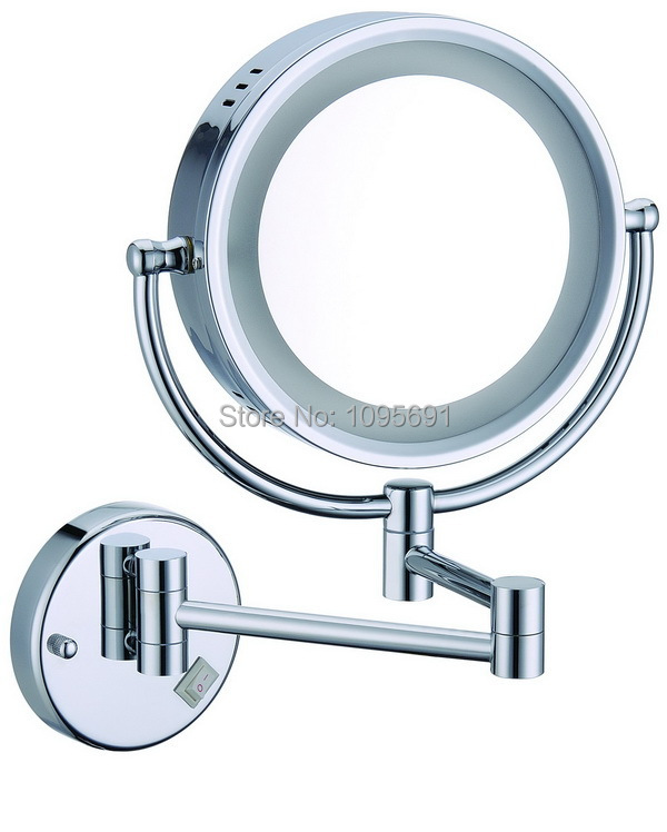 8 round makeup mirrors dual sides 3X mirrors dual arm extend cosmetic wall mount magnifying cosmetic  mirror