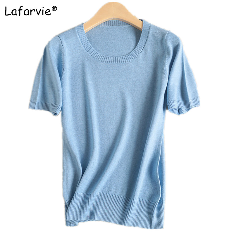 Lafarvie Cashmere Blended Knitted Sweater Women Tops Summer O-neck Short Sleeve Soft Comfortable Solid Color Shirt Sweater Pull