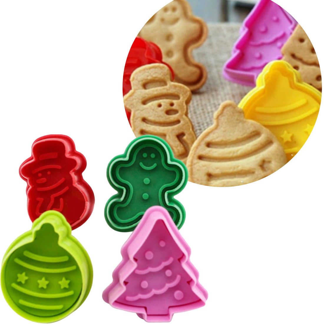 4 PCS Christmas Cookie Plunger Cutters Snowman Tree Xmas Cake Decorating Mold