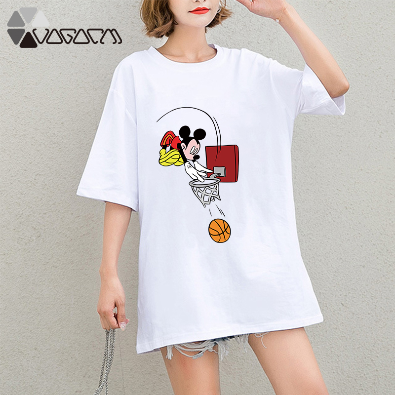 Summer Clothes For Women Minnie Mickey Mouse Print Tops Short Sleeve Black Loose Cartoon Plus Size T Shirts Casual Fashion Tee in T Shirts from Women 39 s Clothing