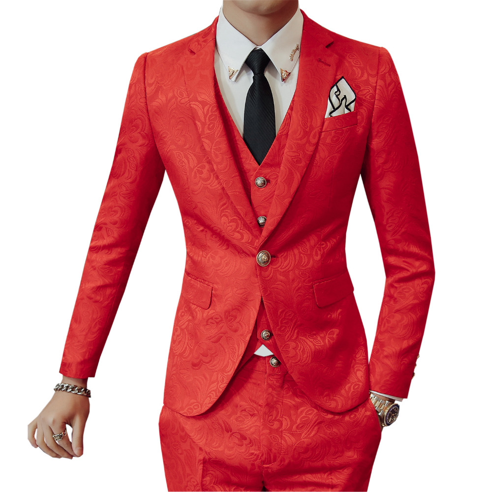 2018 new Korean version of the male groom groom best man three sets wedding shop printing a buckle host suit