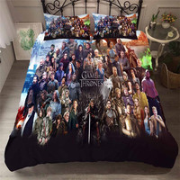 HELENGILI 3D Bedding Set game of Thrones Print Duvet Cover Set Bedcloth with Pillowcase Bed Set Home Textiles #GOT 25
