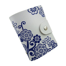 2016 women Card credit wallet  Cards Case Purse Blue and white porcelain Pattern Business ID-Card Storage Holder