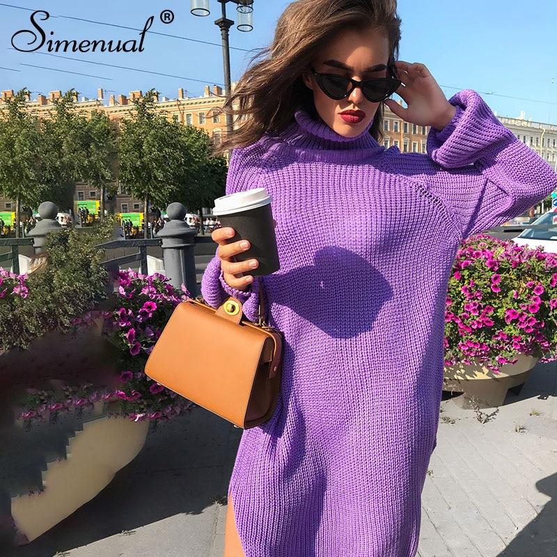 ed552004cfca Simenual Side slit sweater dress autumn winter knitted clothing turtleneck  long sleeve purple vestidos straight women