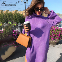 Simenual Side slit sweater dress autumn winter knitted clothing turtleneck long sleeve purple vestidos straight women dresses