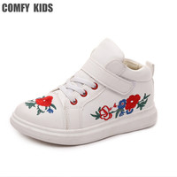 2017 New Spring Autumn Child Sneakers Shoes Embroidered Fashion Comfy Kids Boys Sneakers Sports Shoes Size 27 36 Girls Sneakers