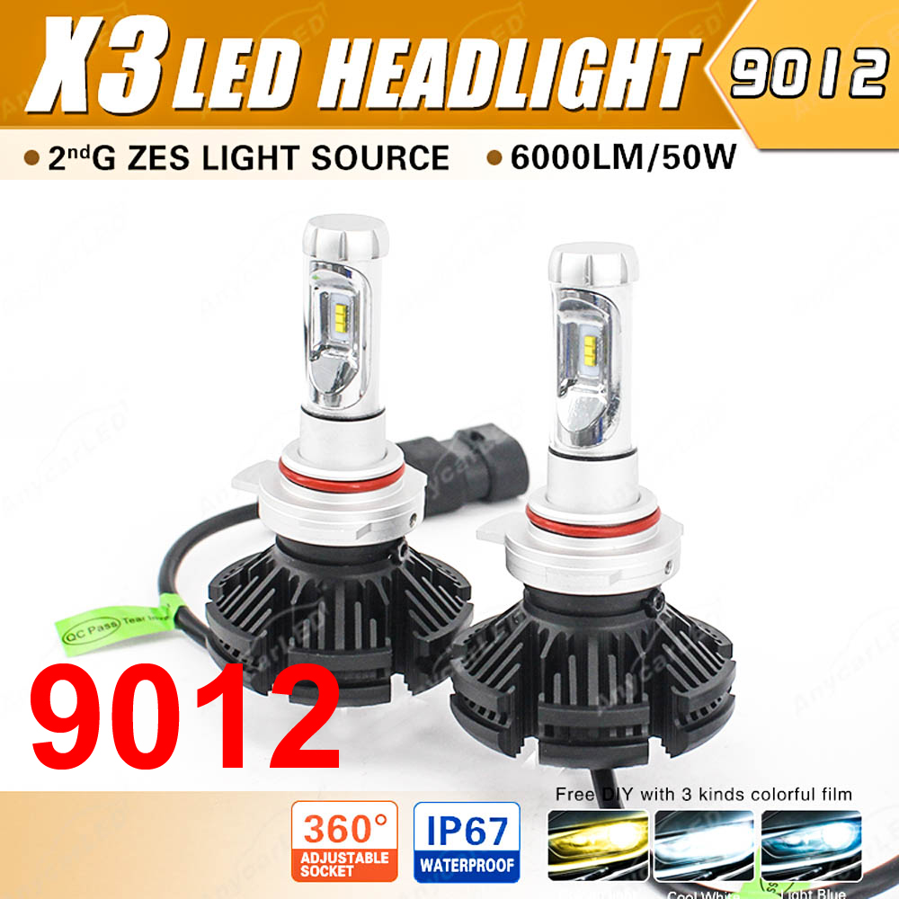 1 Set 9012 HIR2 50W 6000LM X3 LED Headlight LUMILED 2nd ZES Chips 12SMD Fanless All
