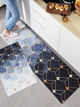 Nordic PVC leather Kitchen mat Strip Non-slip waterproof oilproof carpet Golden Luxury floormat soft Geometric Rebound door