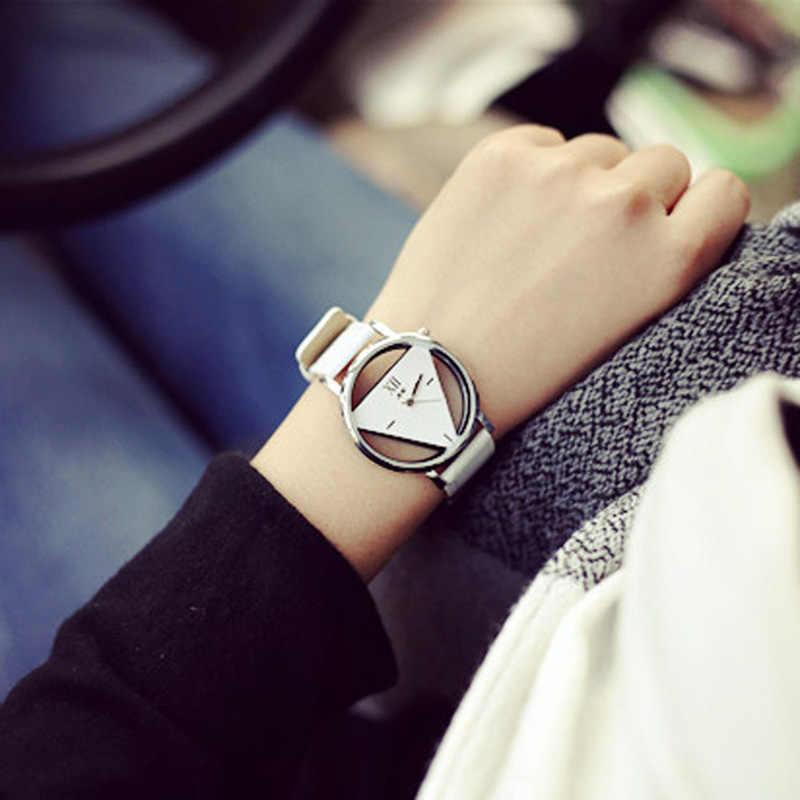 Horloges relojes 1 Çift çift Lover Saatler Benzersiz delikli-out Üçgen Dial Moda İzle Kadınlar erkekler Relogio Masculino