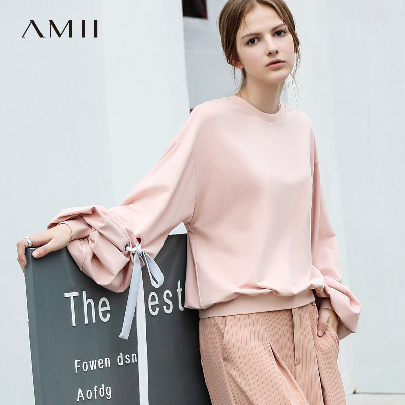 Amii Minimalist Women 2019 Autumn Sweatshirt High Quality Original Design Chic Loose Lantern Sleeve Female Pullovers
