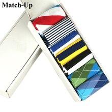 Match Up erkek çorabı marka moda penye pamuklu renkli ayak bileği çorap erkekler yüksek kaliteli (7 çift/grup) hiçbir hediye kutusu